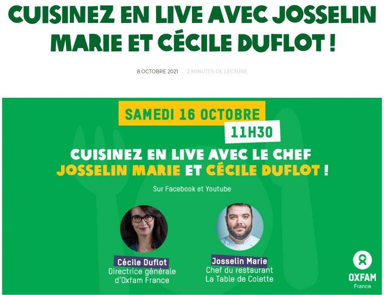 Read more about the article Cécile Duflot cuisine avec Josselin Marie